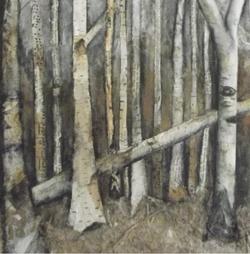 Birchwood melody - mixed media collage
