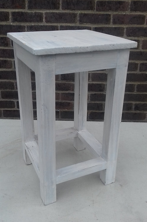 Square white washed small occasional table or plant stand