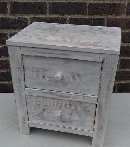 2 drawer whitewash bedside table