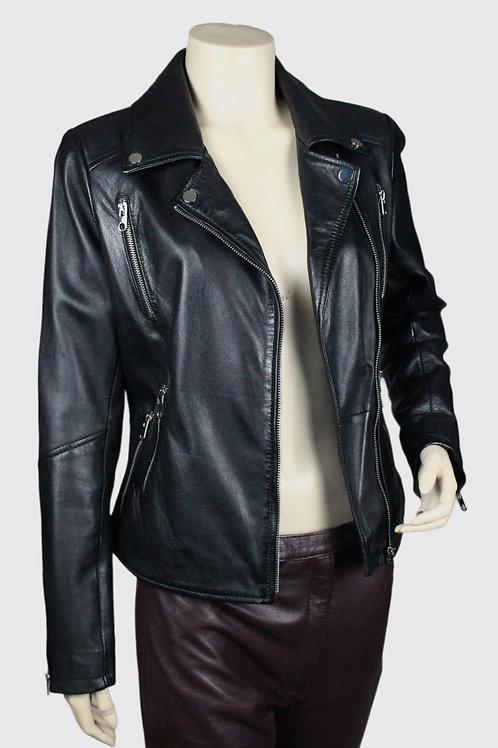 Sandy Ladies Classic Retro Black Leather Biker Jacket