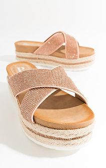 Pia Rossini slider sandals, champagne