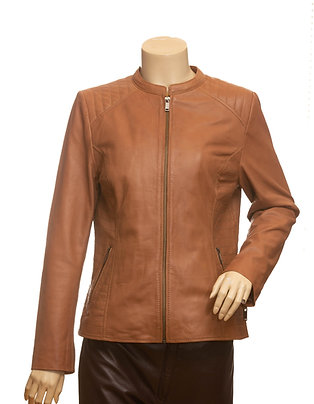 Suzy Ladies Mid Length Tan Leather Jacket