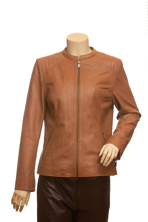 Suzy Ladies Mid Length Tan Leather Jacket