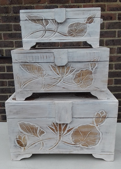 Set of 3 Whitewash Wooden Floral Carved Boxes
