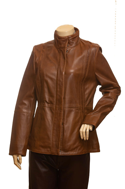 Nicole Mid Length Dark Tan Ladies Leather Jacket