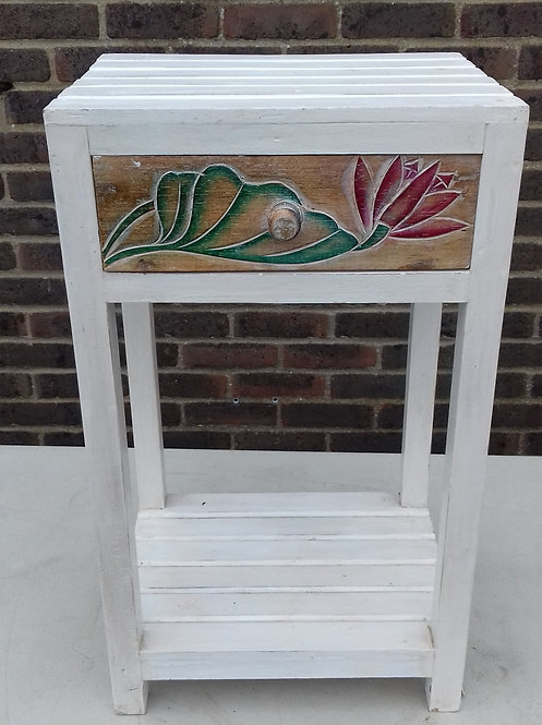 Whitewash Carved Floral Wooden Table with drawer & colourful detail