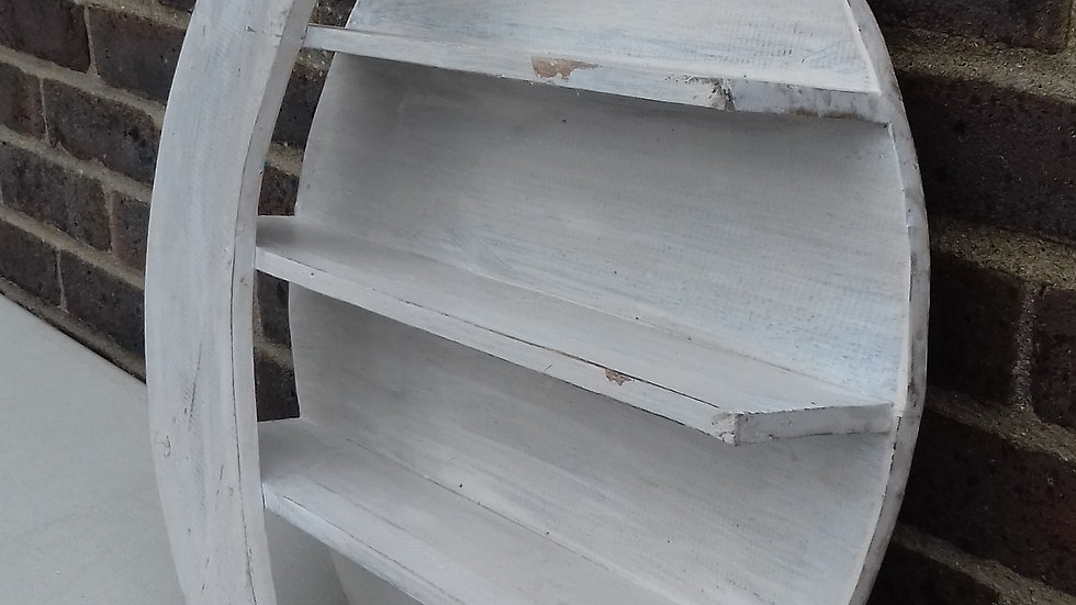 Whitewash wooden moon shelf unit