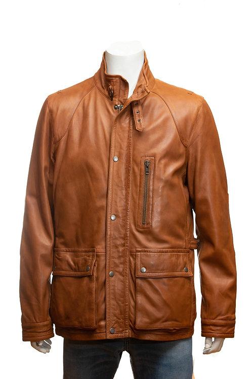 Oscar Mens Tan Three Quarter Length Leather Jacket
