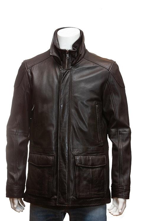 Jonboy Mens Chocolate Brown Leather Jacket