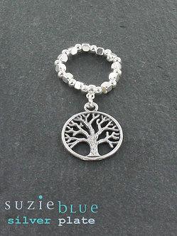 Suzie Blue tree of life elasticated ring