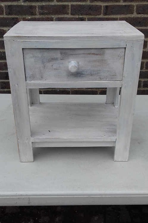 Whitewash Wooden Small Bedside Table