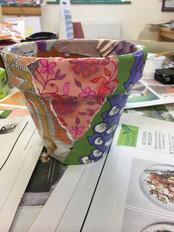 Decopage pots with homeless, Garden Hous
