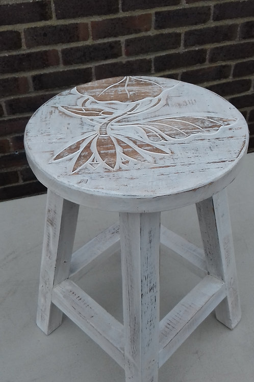 Plant stand/ stool whitewash wood with carved floral detail