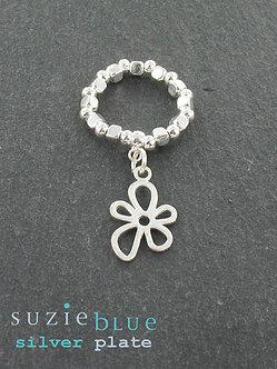 Suzie blue elasticated flower ring