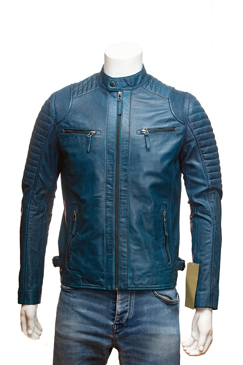 Cafe Racer Mens Blue Leather Jacket