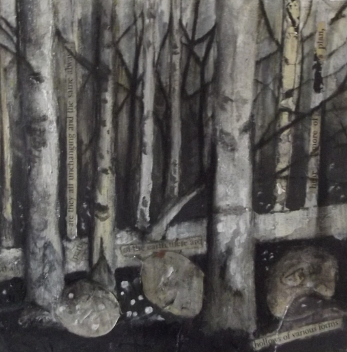 Woodlands lll - mixed media & collage