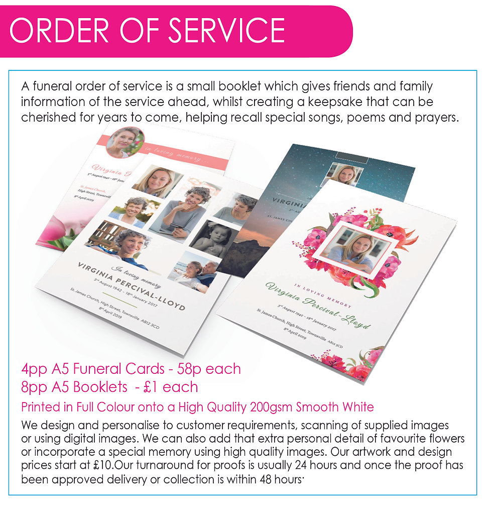 Printed order of service booklets and ca