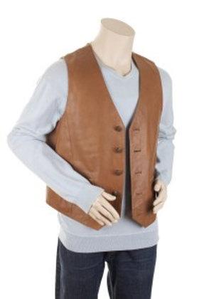Classic Mens Tan Leather Waistcoat