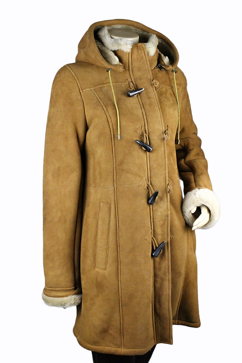 Ladies Tan Lamb Nappa Sheepskin Duffle Jacket