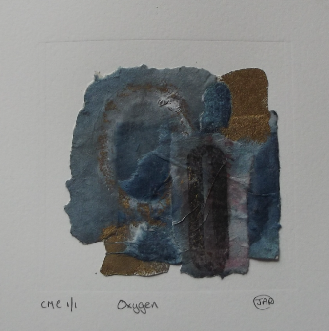 Oxygen - collograph, monoprint and colla
