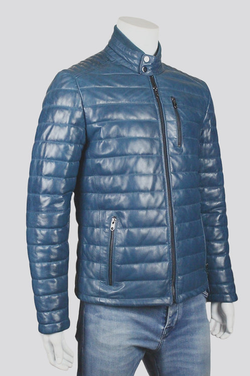 The Puffer Mens Blue Quilted Leather Jacket