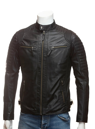 Cafe Racer Mens Black Leather Jacket