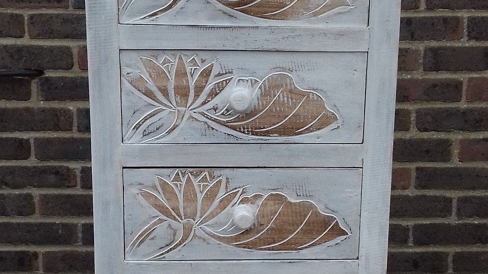 Whitewash Carved Floral Wooden Chest Of Drawers