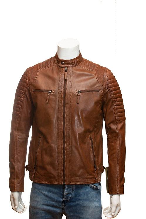 Cafe Racer Mens Tan Leather Jacket