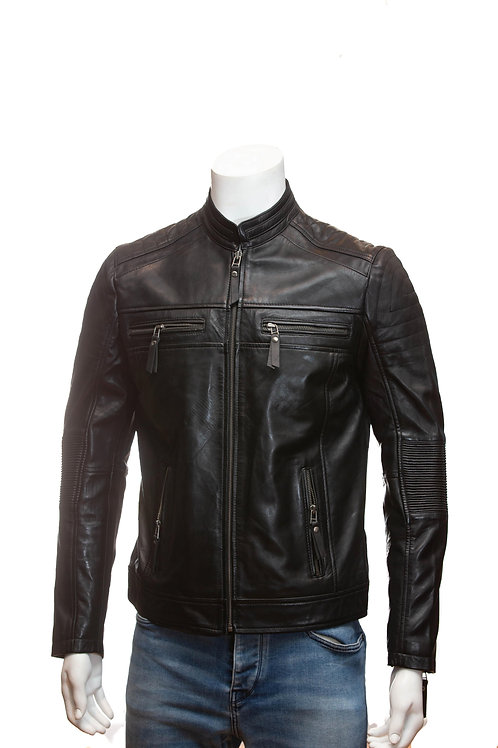 Thruxton Mens Black Leather Biker Jacket