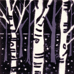 silver birch wood lino cuts SOLD
