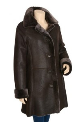 Aspen Tobacco Womens Antique Leather Spanish Shearling Coat