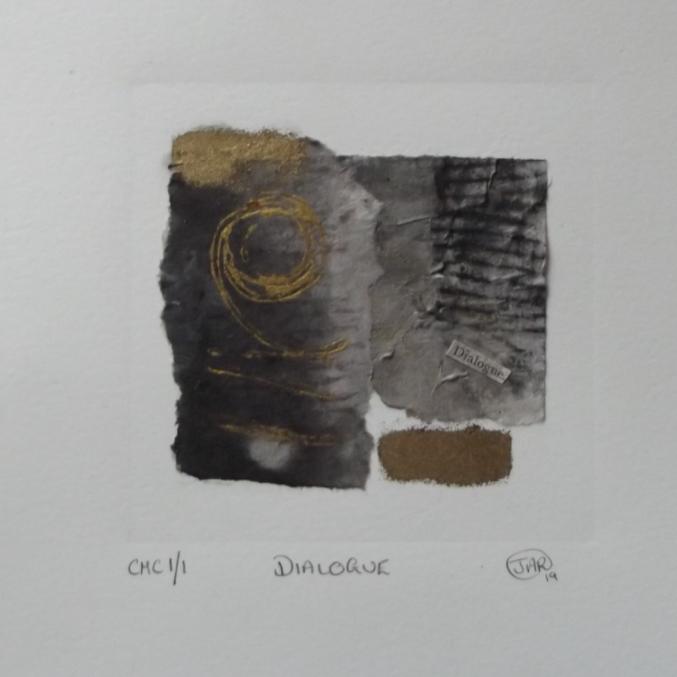 Dialogue - colograph, monoprint & collage