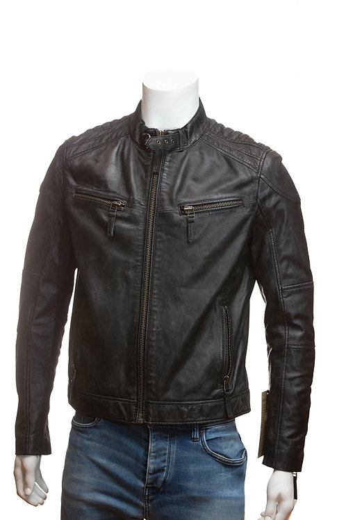 Franklin Washed Mens Black Leather Jacket