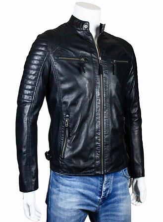 Cafe Racer Mens Black Leather Jacket