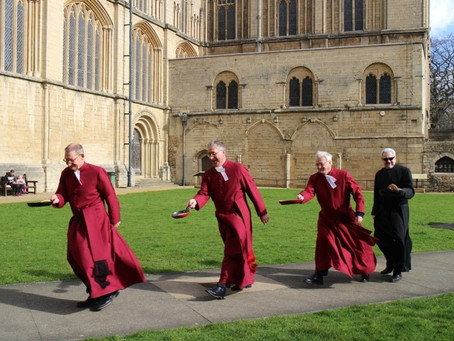 RACE IS ON TO SIGN UP FOR PANCAKE FLIPPING AT PETERBOROUGH CATHEDRAL