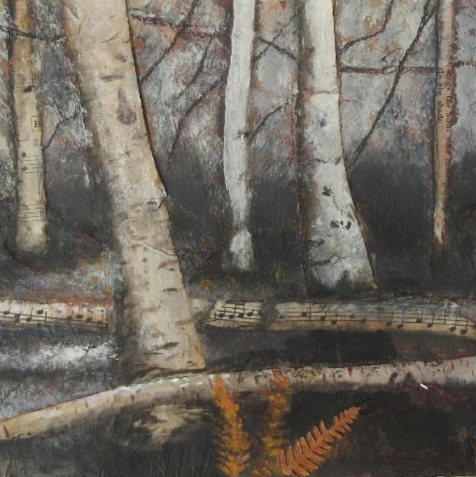 Woodlands V - mixed media & collage
