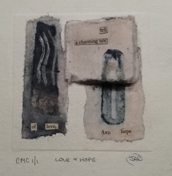 Love & Hope -  mixed media collograph, c