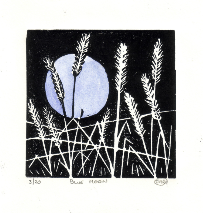 Blue Moon lino cuts SOLD