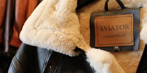 Aviator leather sheepskin jacket, mens leather jacket from Designer Leathers online leather jackets and leather handbag store