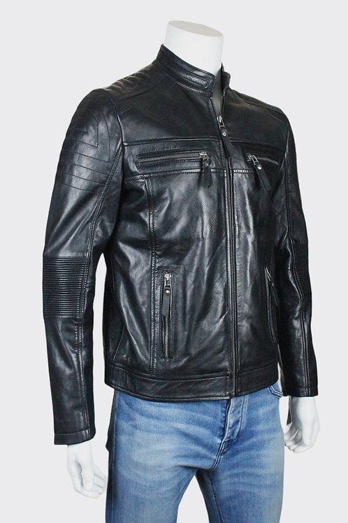 Thruxton Mens Black Leather Biker Jacket