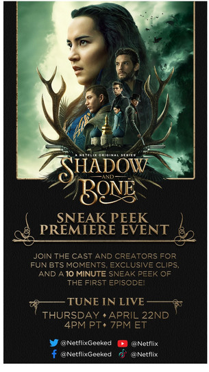 Shadow and Bone Season Releasing on Netflix April 23rd! You're Invites to a Special Event on 22nd!