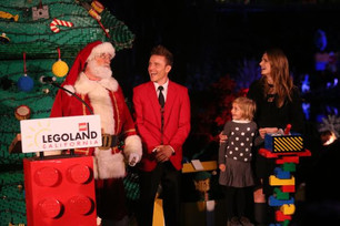 Actress Stana Katic Lights LEGO Christmas Tree at LEGOLAND California Resort!
