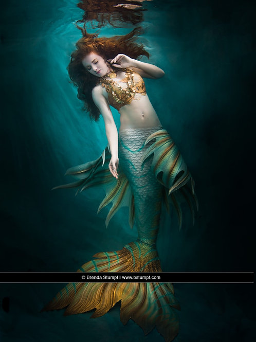 Lionfish Mermaid tail in Teal and Gold