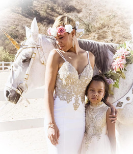 African American Mom and Daughter with M