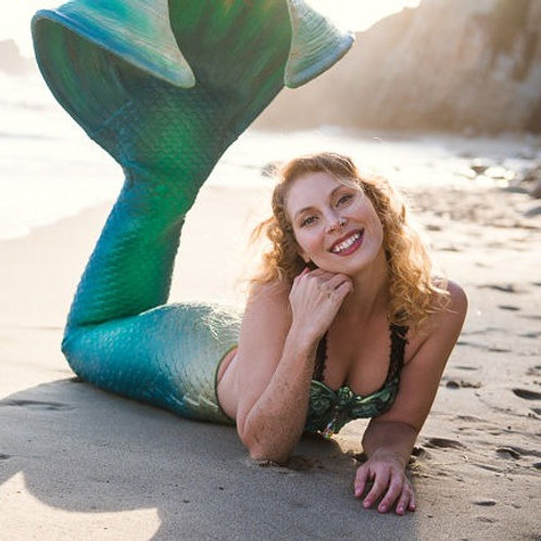 Green with Blue and Gold Mermaid tail