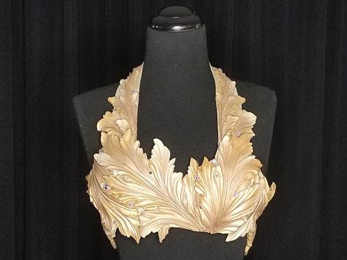 Luxury gold seaweed mermaid bra top costume rental for swimming in Los Angeles - Siren Allure by LA Mermaid School