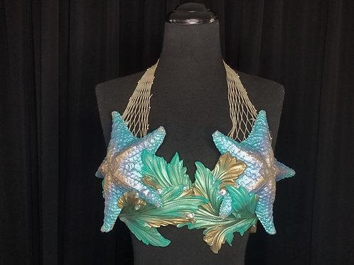 Blue starfish on seaweed mermaid bra top costume rental by Siren Allure in Los Angeles for swimming