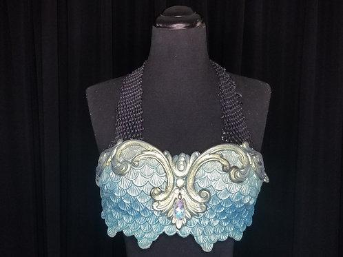 Blue and silver fish scales mermaid bra top rental for swimming - Los Angeles costume rental Merbella Studios