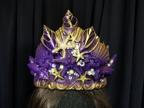 Purple and gold editorial fashion mermaid crown rental from Los Angeles - LA Mermaid School