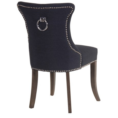 Black Studded Dining Chair With Ring